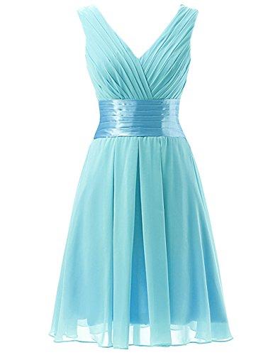 (JAEDEN Short Bridesmaid Dresses Chiffon V Neck Prom Gown Pleat Knee Length Blue US22W)