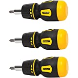 Stanley 66-358 Stubby Multi-Bit Ratcheting Screwdriver NIP (3 Pack)