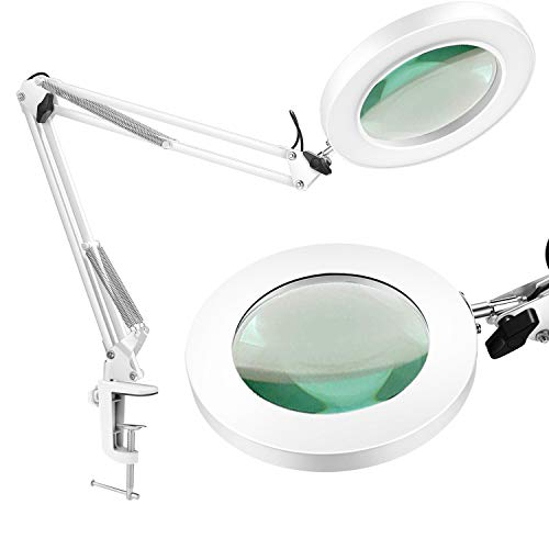 LANCOSC Magnifying Glass Desk Lamp with Clamp - White/Warm White Lighted 5-Diopter Magnifier Lens - Adjustable Metal Swivel Arm LED Light for Reading, Crafts, Professional Tasks (White)