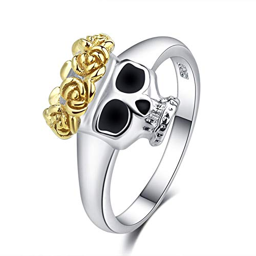 SAINTHERO Gothic Jewelry Women Two Tone Dainty Skull Band Unique Gold Rose Crown Rings (Ring Two Tiffany Tone)