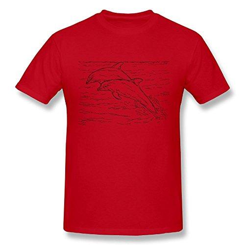 - GUEN-T Men's Two Atlantic Bottlenose Dolphins Fashion T-Shirt XX-Large Red
