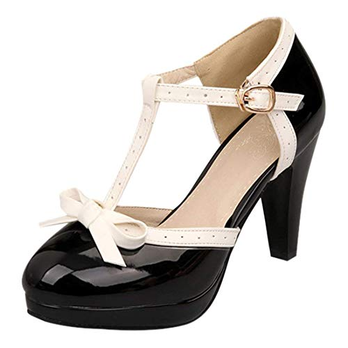 - Susanny Women's Chic Sweet Round Toe T-Strap Bows Adorable Buckle High Cone Heel Mary Janes Dress Black6 Pumps 10 B(M) US