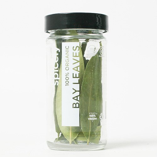 Glass Organic Leaf (Spicely Organic California Bay Leaves Whole - Glass Jar - Gluten Free - Non GMO - Vegan -)