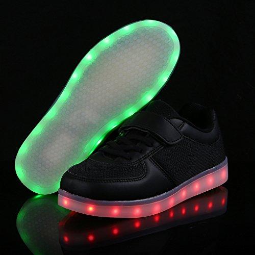 SAGUARO® Unisex niños USB Carga LED Luz Luminosas Flash Zapatos Zapatillas de Deporte,Negro 25
