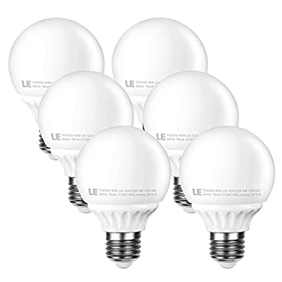 LE 5W G25 E26 LED Bulbs, 40W Incandescent Bulb Equivalent, Not Dimmable, 450lm, Warm White, 2700K, 270¡ã Beam Angle, LED G25, Globe Light Bulb, LED Light Bulbs, Pack of 6 Units