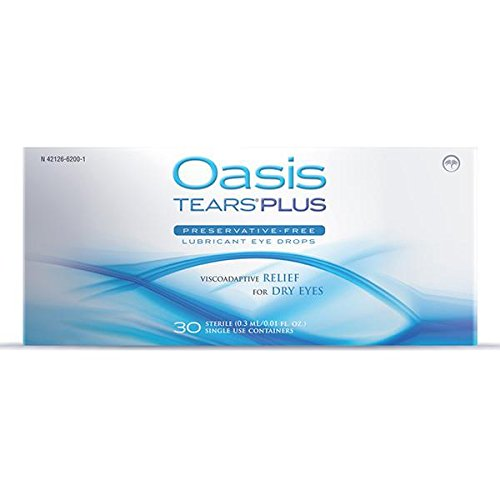 65 Vials Oasis TEARS PLUS Preservative-Free Lubricant Eye Drops (2 boxes, 30 vials each and one 5 vial packet) (Preservative Free Vials)