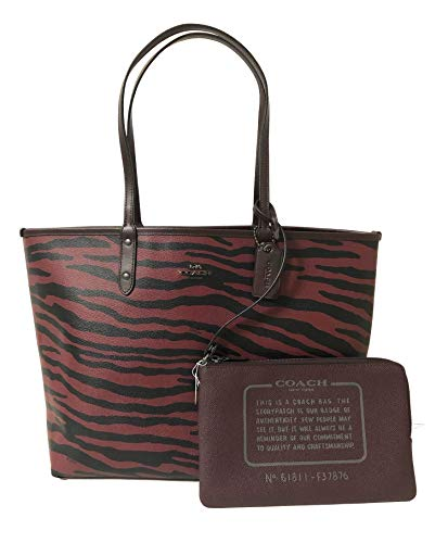 Coach F36609 Reversible PVC City Signature Tote (QB/Tiger Oxblood)