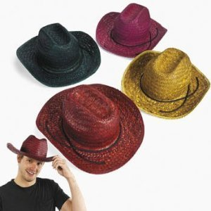 Fun Express Adult Assorted Straw Cowboy Hat (1 (Cheap Cowboy Party Hats)
