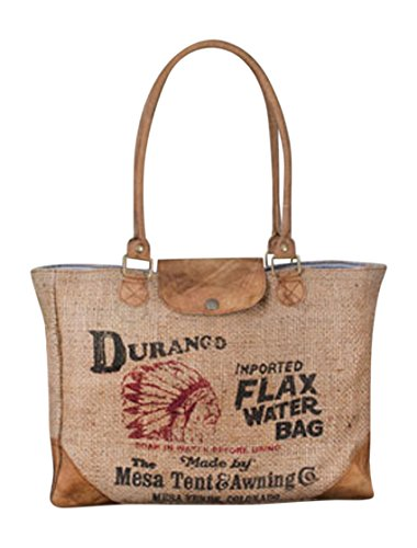 Backroads Durango Country Burlap and Leather Water Bag Tote Bag Shoulder Bag