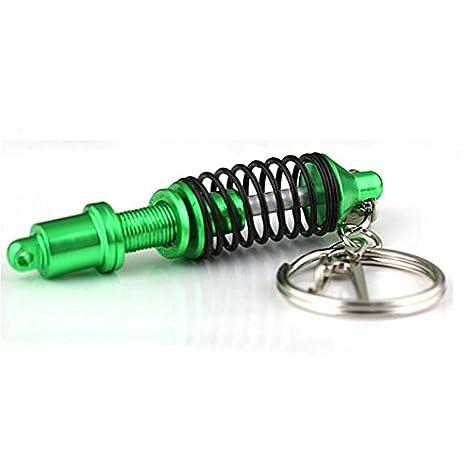 Alftek Llavero con amortiguador de muelles y amortiguador de muelles, verde