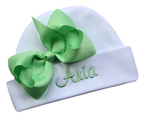 Personalized Embroidered Baby Girl Hat with Grosgrain Bow with Custom Name (White Hat/Mint Bow)