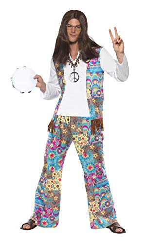 Smiffys Men's Groovy Hippie Costume, Top with Attached Waistcoat, pants and Headband, 60's Groovy Baby, Serious Fun, Size L, 38628