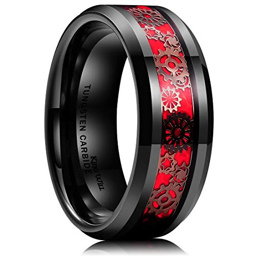 King Will Gentleman Mens 8mm Black Tungsten Carbide Ring Gearwheel Red Opal Background Inlay Wedding Band 10.5 ()