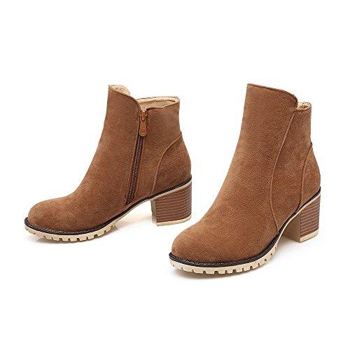 AllhqFashion Damen Mittler Absatz Blend-Materialien Rein Reißverschluss Rund Zehe Stiefel, Gelb, 39