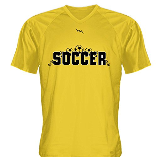 V-neck Soccer Custom Jersey (LightningWear Gold Soccer Jerseys V Neck - Custom V Neck Soccer Jerseys XX-Large)