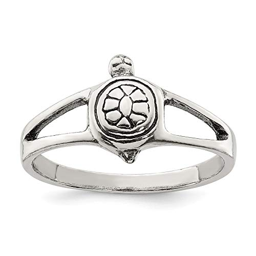 Size 7 Sterling Silver Solid Turtle Ring (2mm)