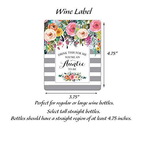 Pregnancy Reveal Wine Labels ● SET of 5 ● Drink This For Me - You're An Auntie-To-Be, Pregnancy Announcement Wine Labels, Alternative to New Baby Announcement Cards WEATHERPROOF, SLATE GRAY, A109-5A1