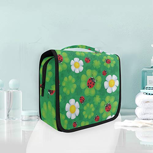 Toiletry Bag Cute Ladybug On Luck Shamrock Clover St Hanging Organizer Bag Wash Gargle Bag Cosmetic Bag Portable Makeup Pouch with Hanging Hook -