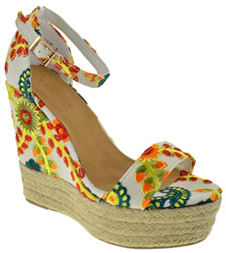 (BAMBOO Choice 67 Womens Slingback Buckle Platform Wedge Dress Sandals Beige Multi 11)