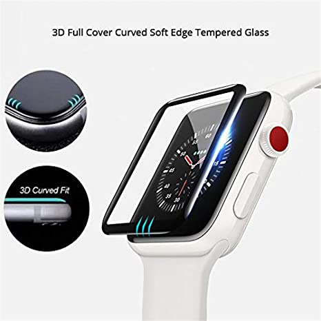 Amazon.com: BATOP Apple Watch Screen Protector || Screen Protector 3D Curved Soft Edge Tempered Glass Film Full Cover for Apple Watch 42 38mm Series 3/2/1 ...