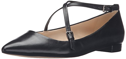 Black Leather West Women's Pointed Toe Flat Anastagia Nine w68q0Cxx