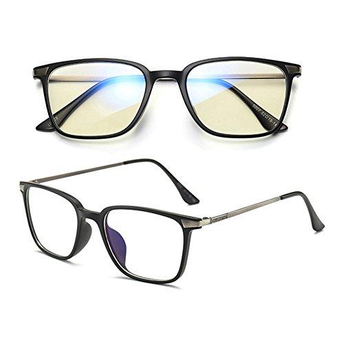 de doux rétro Scrub Black anti optiques Carré bleus Inlefen verres force Lunettes sans OxSRwqqzF