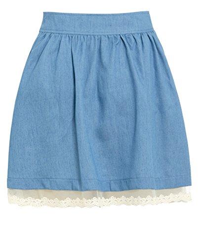 dentelle coton Bleu femmes jeans style jupe 6 nouvelles 14 pour SS7 Clair Sizes patineuse twqCnxHga