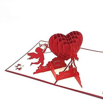 Color : Rosso, Size : 13x15.5cm 5pcs Amore cuore cupido 3D Pop Up Greeting Card carta regalo fatto a mano per il compleanno anniversario di matrimonio Buon San Valentino di Natale