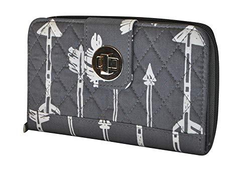 Gray Arrow Print NGIL Quilted Twist Lock Wallet