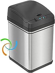iTouchless - Papelera automática de 13 galones con filtro absorbente de olores y bloqueo de tapa, alimentación