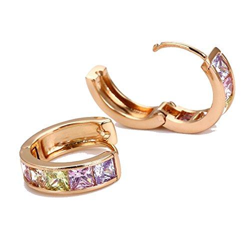(   Huggie Hoop Earrings | 18k Yellow Gold Plated | Colored Princess Cut Crystals)