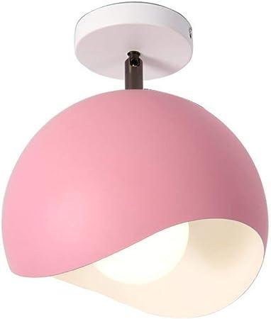 Imagen deAZCX Diseño Moderno LED lámpara Minimalista balcón Luces Ronda Color pequeño Colgante Lámpara Creativa lámpara Dormitorio Cocina Cuarto de baño Pasillo lámpara de Techo E27,Pink