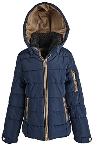 London Fog Big Girls Warm Winter Puffer Jacket with Removable Hood - Navy (Size 7/8)
