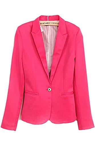 Tirahse Popular Women Refined Candy Color Blazer Foldable Sleeve Outwear Jacket Suit Hot PinkSmall