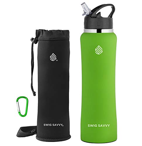 (SWIG SAVVY Stainless Steel Water Bottle with Straw Lid | BPA-Free Vacuum Insulated Double Walls & Wide Mouth Design | Reusable Sports Drinking Water Container with Carrying Sleeve Pouch- 24oz L.Green)