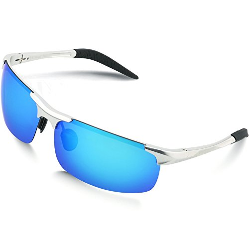 Woolike Men's Sports Style Polarized Sunglasses For Cycling Running Fishing Driving Golf Unbreakable Al-Mg Frame Metal Glasses W817 (Sliver&Blue - Prescription Golf Sunglasses