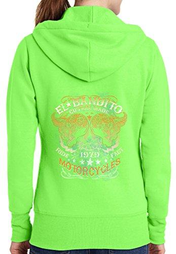 Womens El Bandito Full Zip Hoodie, Neon Green, 2X