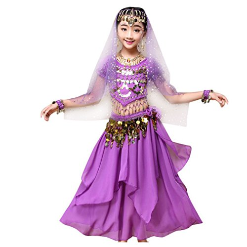 Inkach Baby Dance Dresses, Kids Girls Belly India Dance Outfit Costume Top+Skirt Set Clothes (XS, Purple)