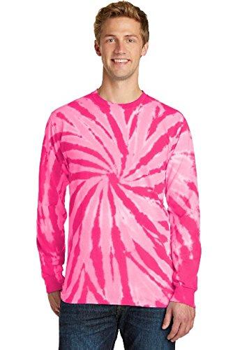 (Port & Company Essential Tie-Dye Long Sleeve Tee PC147LS Pink 4XL)