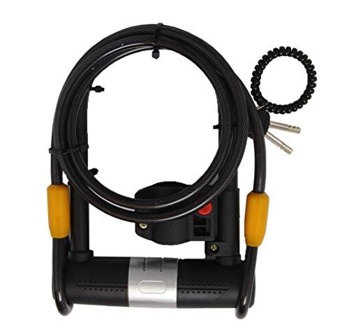 Bike locks Double Safe U Lock- 16mm Heavy Duty Bike Lock with U Lock Shackle and Mounting Bracket + 1200mm Steel Flex (Bike Mounting Bracket)