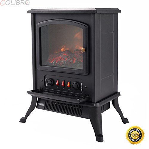 COLIBROX--Metal Electric 1000W Fireplace Quartz Tube Heater Fire Flame Stove Adjustaable Compact design great for all indoor spaces including corners High heating efficiency Overheating safety cutoff. Compact Corner Electric Fireplace