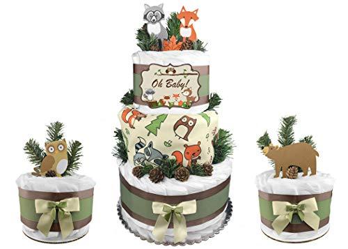 Set of (3) Woodland Creatures Diaper Cakes -