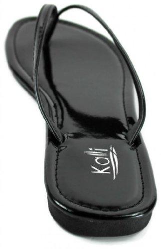 Thong Black Patent Basic Twins Sandal Flat Kali Womens Footwear wgqOYnYU