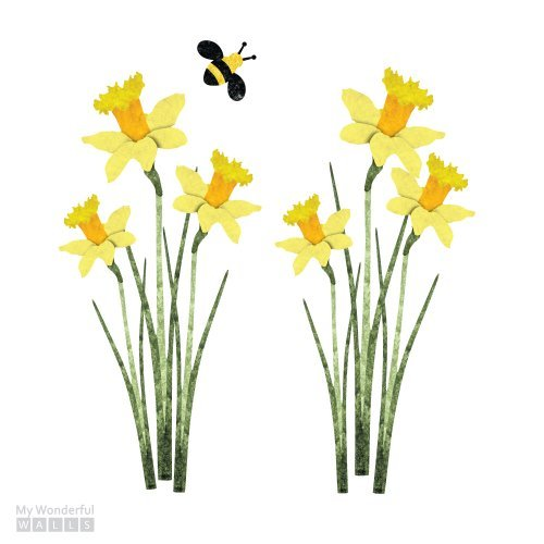 My Wonderful Walls Daffodils and Bee Wall Decal Stickers, (7 Piece Daffodil Collection)