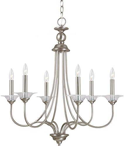 (Sea Gull Lighting 31318-965  Antique Brushed Nickel Finished Chandelier with Clear Glass Bobeches)