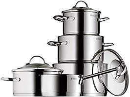 WMF Provence Plus - Batería de Cocina de 5 Piezas, Acero Inoxidable Cromargan, Tapas de Cristal, Apta para Todo Tipo de...