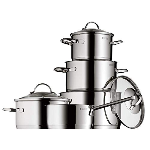 (WMF 0721056380 Pot Set 5-Piece Provence Plus Pouring Rim Glass Lid Cromargan Stainless Steel Polished Suitable for Induction Hobs Dishwasher-Safe)