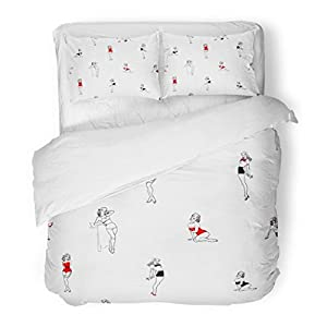 SanChic Duvet Cover Set Red Pin Trendy Patter Pine Up Girls Vintage Retro Sexy Comic Pinup Decorative Bedding Set with 2 Pillow Shams Full/Queen Size