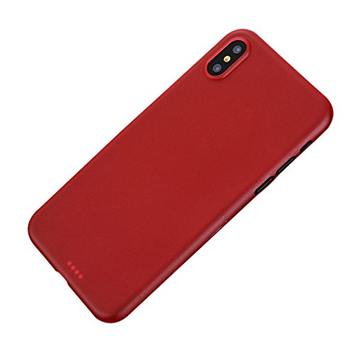 Price comparison product image Mchoice For iPhone X Ultra Thin Slim PP Matte Silicone Case Luxury Protective Back Cover (Red)