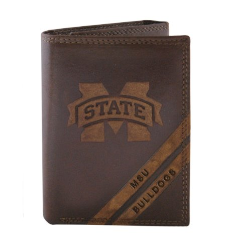 (NCAA Mississippi State Bulldogs Zep-Pro Pull-Up Leather Trifold Embossed Wallet,)